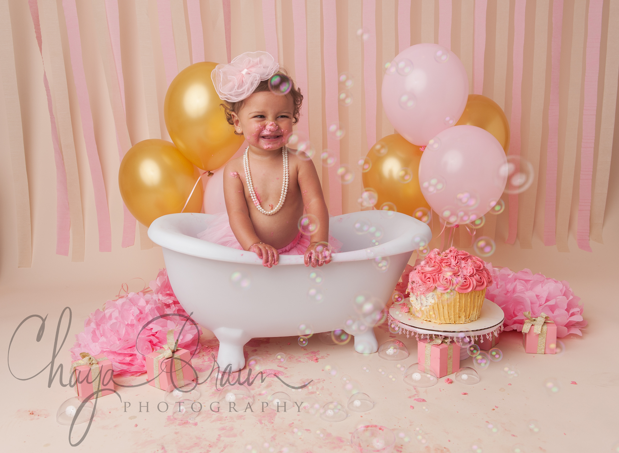 first birthday post cake smash bathtub
