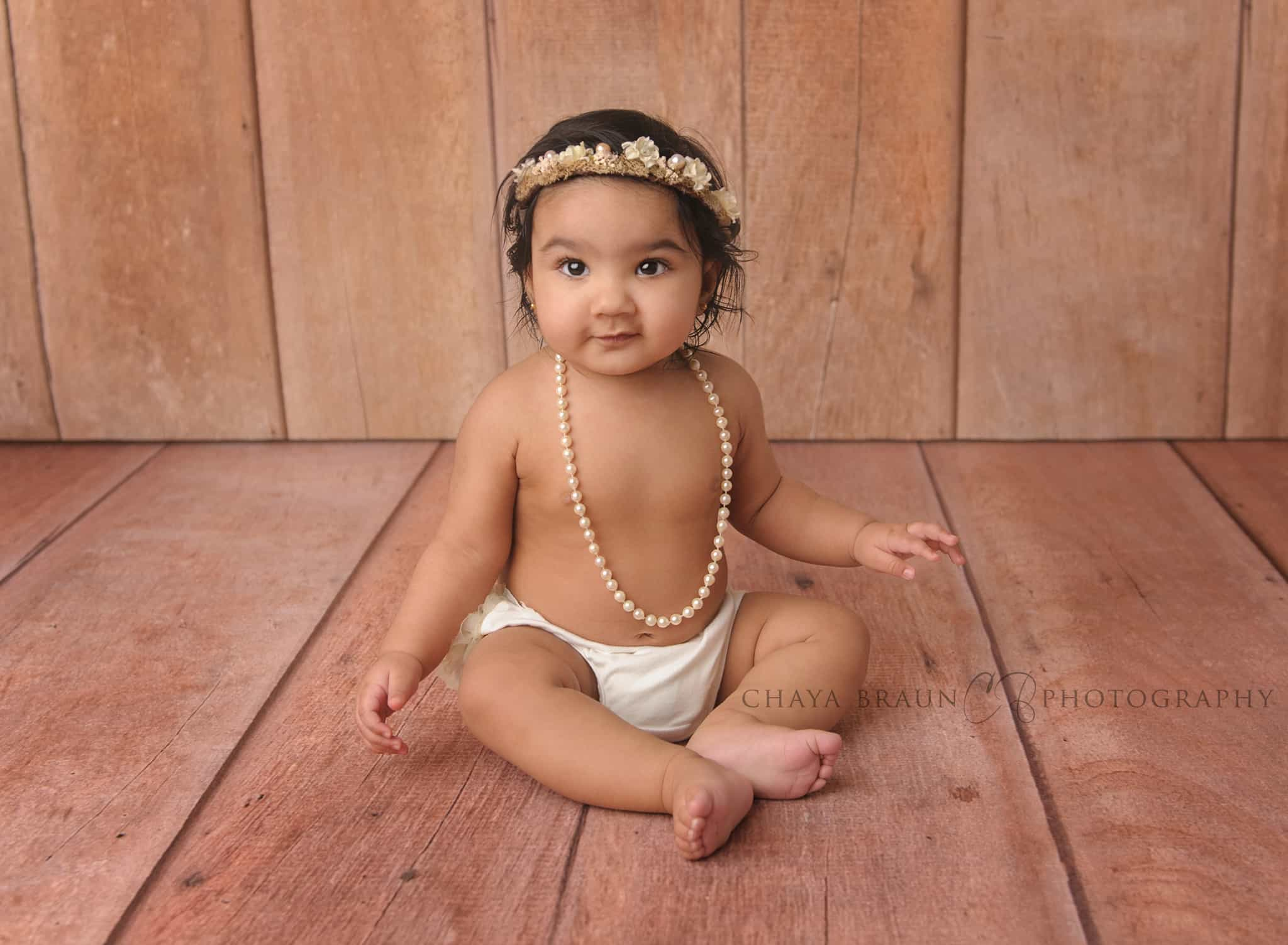 baby photo with pearls